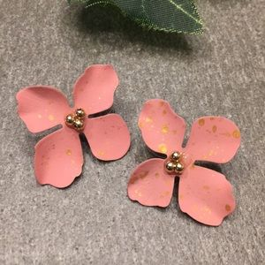 Gorgeous Pink Flower Earrings Gold Flecks